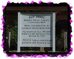 The sign at the entrance to the Old Dravo Cemetery.