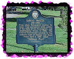 Historic maker about David McKee and the FOunding of McKeesport PA.